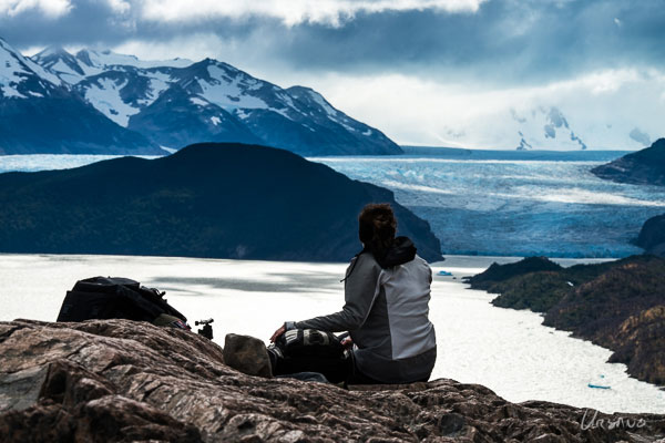 The great view of Grey glacier on the first leg of the W hike.